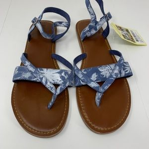 NEW Toms Lexie blue suede gladiator flat sandals 9